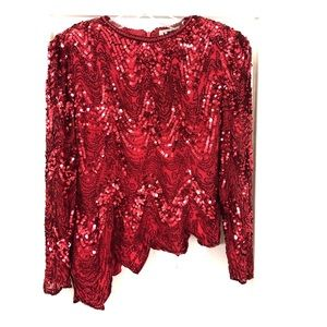 Vintage Red Sequin heavily beaded top 80s rare